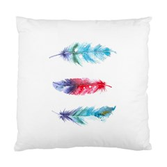 Feathers Boho Style Purple Red And Blue Watercolor Standard Cushion Case (one Side) by genx