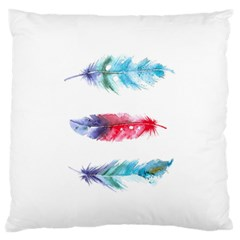 Feathers Boho Style Purple Red And Blue Watercolor Large Flano Cushion Case (one Side) by genx