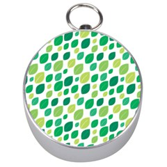 Leaves Green Modern Pattern Naive Retro Leaf Organic Silver Compasses by genx