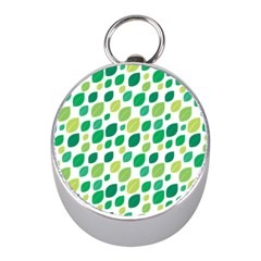 Leaves Green Modern Pattern Naive Retro Leaf Organic Mini Silver Compasses by genx
