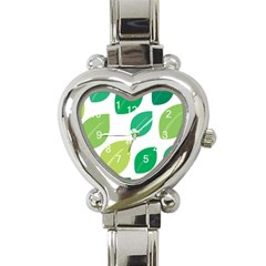 Leaves Green Modern Pattern Naive Retro Leaf Organic Heart Italian Charm Watch by genx