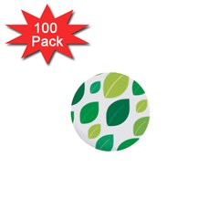 Leaves Green Modern Pattern Naive Retro Leaf Organic 1  Mini Buttons (100 Pack)  by genx