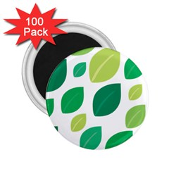 Leaves Green Modern Pattern Naive Retro Leaf Organic 2 25  Magnets (100 Pack)  by genx