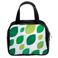 Leaves Green Modern Pattern Naive Retro Leaf Organic Classic Handbag (two Sides) by genx