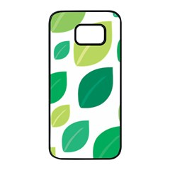 Leaves Green Modern Pattern Naive Retro Leaf Organic Samsung Galaxy S7 Edge Black Seamless Case by genx