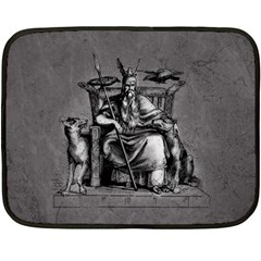 Odin On His Throne With Ravens Wolf On Black Stone Texture Double Sided Fleece Blanket (mini)  by snek