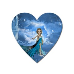 Cute Fairy In The Sky Heart Magnet by FantasyWorld7