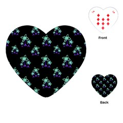 Dark Floral Drawing Print Pattern Playing Cards (heart)
