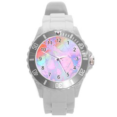 Iridescent Marble Round Plastic Sport Watch (l) by tarastyle