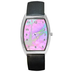 Iridescent Marble Barrel Style Metal Watch by tarastyle