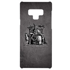 Odin On His Throne With Ravens Wolf On Black Stone Texture Samsung Note 9 Black Uv Print Case  by snek