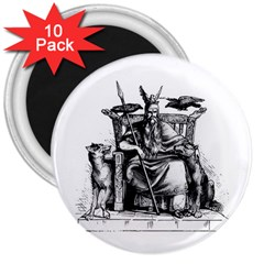 Odin On His Throne With Ravens Wolf On Black Stone Texture 3  Magnets (10 Pack)  by snek