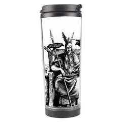 Odin On His Throne With Ravens Wolf On Black Stone Texture Travel Tumbler by snek