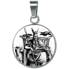 Odin On His Throne With Ravens Wolf On Black Stone Texture 20mm Round Necklace