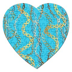 Luxury Chains And Belts Pattern Jigsaw Puzzle (heart)