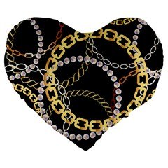 Luxury Chains And Belts Pattern Large 19  Premium Heart Shape Cushions