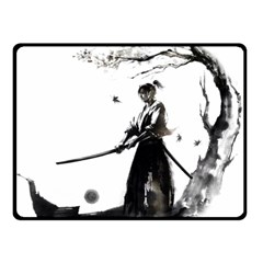 Japan Samurai Drawing   Warrior Double Sided Fleece Blanket (small)  by Sudhe