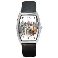 Hong Kong Skyline Watercolor Painting Poster Barrel Style Metal Watch