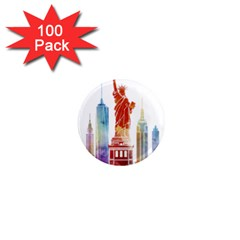 New York City Poster Watercolor Painting Illustrat 1  Mini Magnets (100 Pack)  by Sudhe