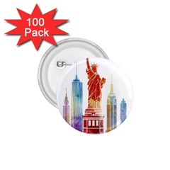 New York City Poster Watercolor Painting Illustrat 1 75  Buttons (100 Pack)  by Sudhe