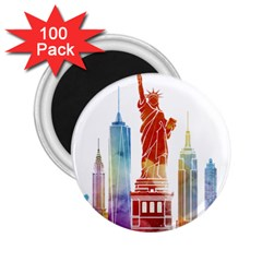 New York City Poster Watercolor Painting Illustrat 2 25  Magnets (100 Pack)