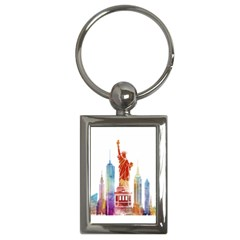 New York City Poster Watercolor Painting Illustrat Key Chains (rectangle)  by Sudhe