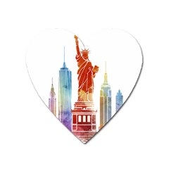 New York City Poster Watercolor Painting Illustrat Heart Magnet by Sudhe