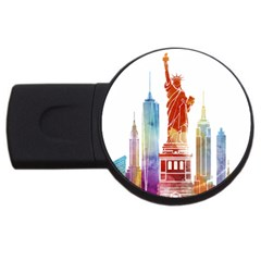 New York City Poster Watercolor Painting Illustrat Usb Flash Drive Round (2 Gb) by Sudhe