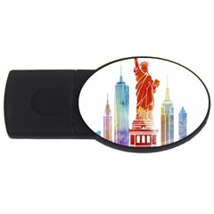 New York City Poster Watercolor Painting Illustrat Usb Flash Drive Oval (2 Gb) by Sudhe