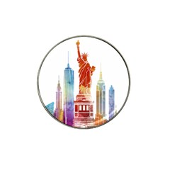 New York City Poster Watercolor Painting Illustrat Hat Clip Ball Marker by Sudhe