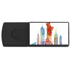 New York City Poster Watercolor Painting Illustrat Rectangular Usb Flash Drive by Sudhe