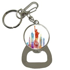 New York City Poster Watercolor Painting Illustrat Bottle Opener Key Chains by Sudhe