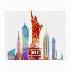 New York City Poster Watercolor Painting Illustrat Small Glasses Cloth (2-side) by Sudhe