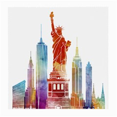 New York City Poster Watercolor Painting Illustrat Medium Glasses Cloth by Sudhe