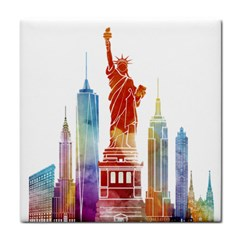 New York City Poster Watercolor Painting Illustrat Face Towel