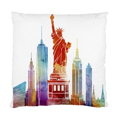 New York City Poster Watercolor Painting Illustrat Standard Cushion Case (one Side) by Sudhe