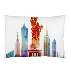 New York City Poster Watercolor Painting Illustrat Pillow Case by Sudhe