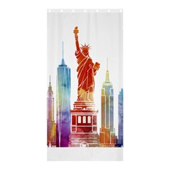 New York City Poster Watercolor Painting Illustrat Shower Curtain 36  X 72  (stall)  by Sudhe