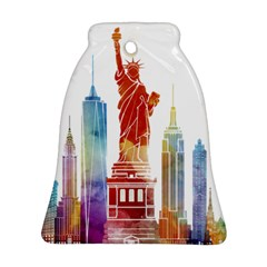New York City Poster Watercolor Painting Illustrat Bell Ornament (two Sides) by Sudhe