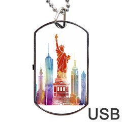 New York City Poster Watercolor Painting Illustrat Dog Tag Usb Flash (two Sides) by Sudhe