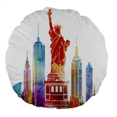 New York City Poster Watercolor Painting Illustrat Large 18  Premium Round Cushions by Sudhe