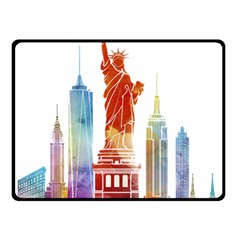 New York City Poster Watercolor Painting Illustrat Double Sided Fleece Blanket (small)