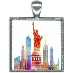New York City Poster Watercolor Painting Illustrat Square Necklace
