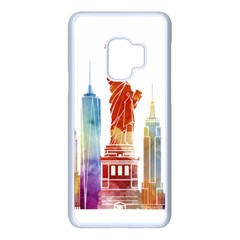 New York City Poster Watercolor Painting Illustrat Samsung Galaxy S9 Seamless Case(white) by Sudhe