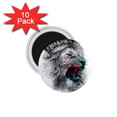 Lion King Head 1 75  Magnets (10 Pack)