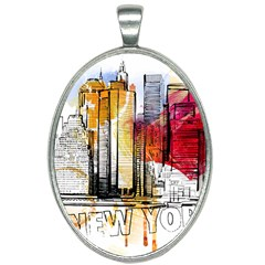 New York City Skyline Vector Illustration Oval Necklace