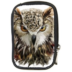 Vector Hand Painted Owl Compact Camera Leather Case
