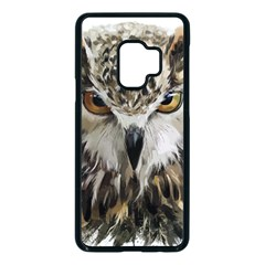Vector Hand Painted Owl Samsung Galaxy S9 Seamless Case(black)