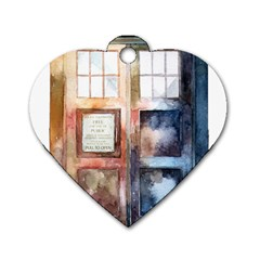 Tardis Doctor Who Transparent Dog Tag Heart (one Side)