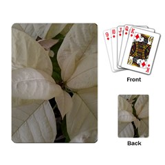 White Pointsettia Playing Cards Single Design by Riverwoman